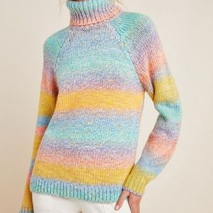 Anthropologie Rainbow Turtleneck Sweater